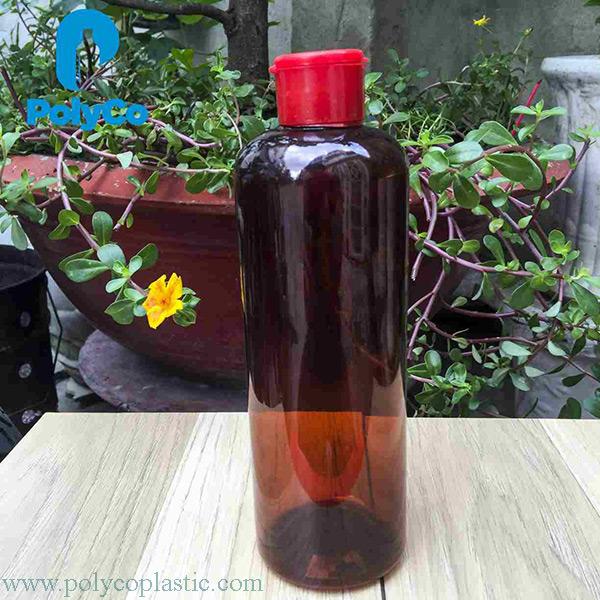 500ml brown plastic bottle, beautiful PET plastic bottle