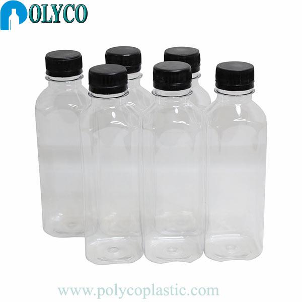 Botol plastik PET 330ml dengan tutup plastik hitam