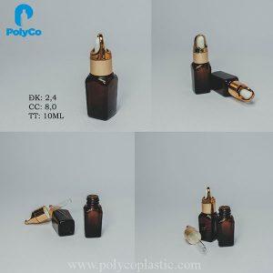 Frasco de suero cuadrado de 10 ml, frasco de vidrio que contiene aceite esencial