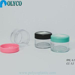 Tarro de plástico de 5gr con tapón de rosca, tarro cosmético