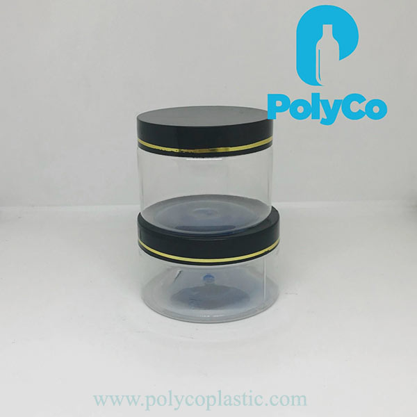 PET plastic jar with black, white and pink lid