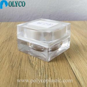 Square 5ml plastic jar with white lid