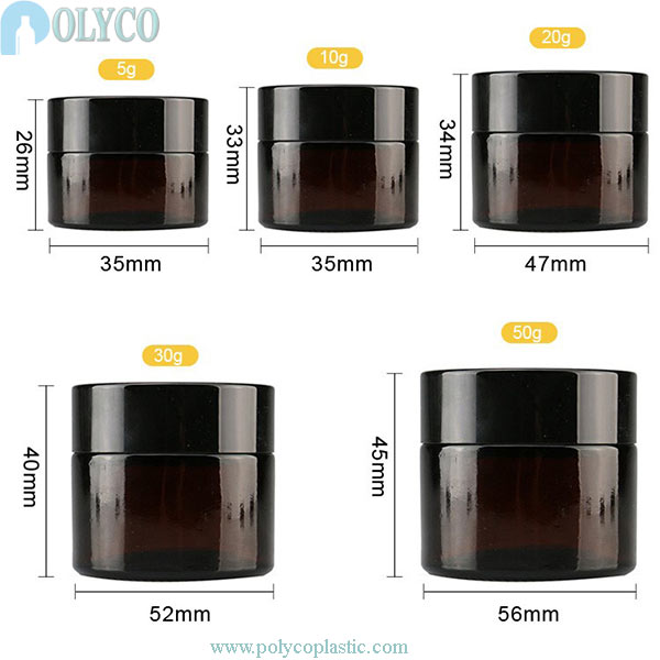 Round brown glass jar for beautiful cosmetics
