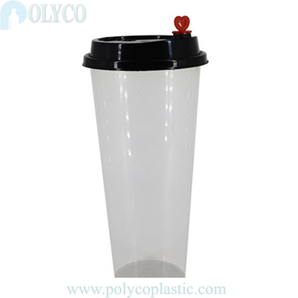 Plastic cup with beautiful heart cap 700ml
