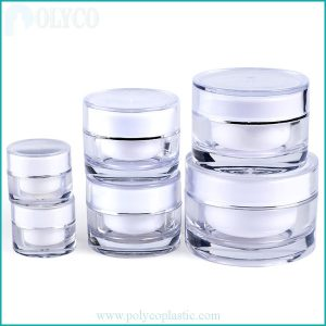 Cosmetic plastic jar with 2 layers of high quality plastic