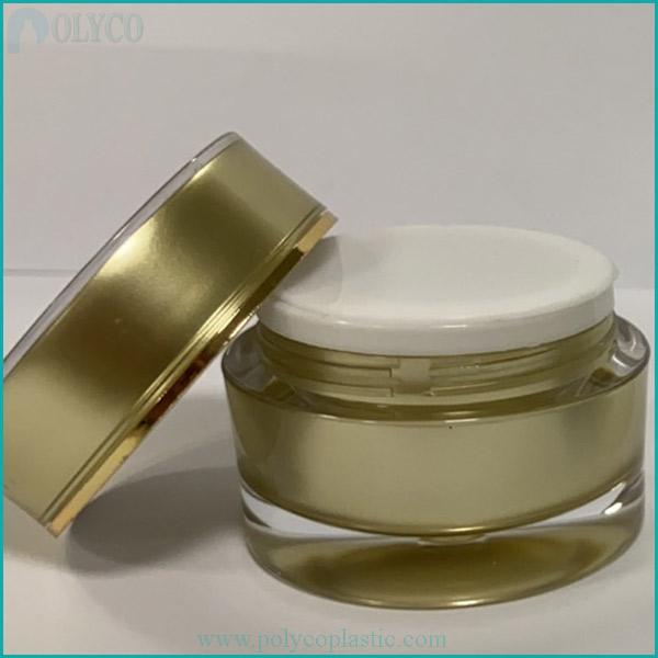 Yellow double-layer plastic cosmetic jar