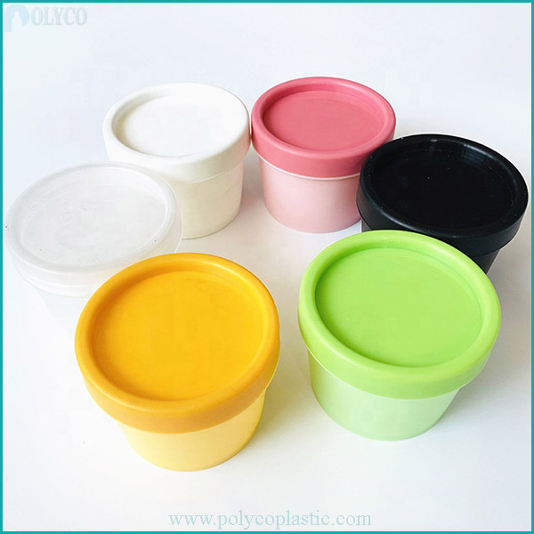 Cup-shaped plastic jar with premium lid