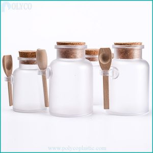 Transparent plastic jar with high quality wooden lid