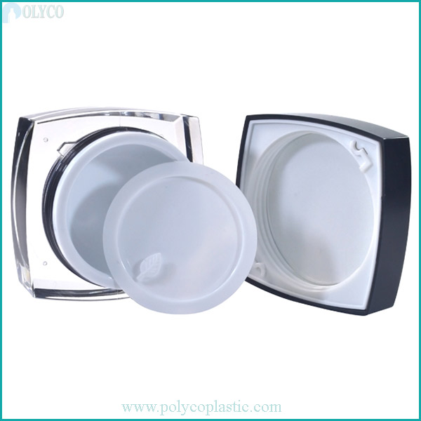 Square plastic jar with 2 layers of high quality plastic