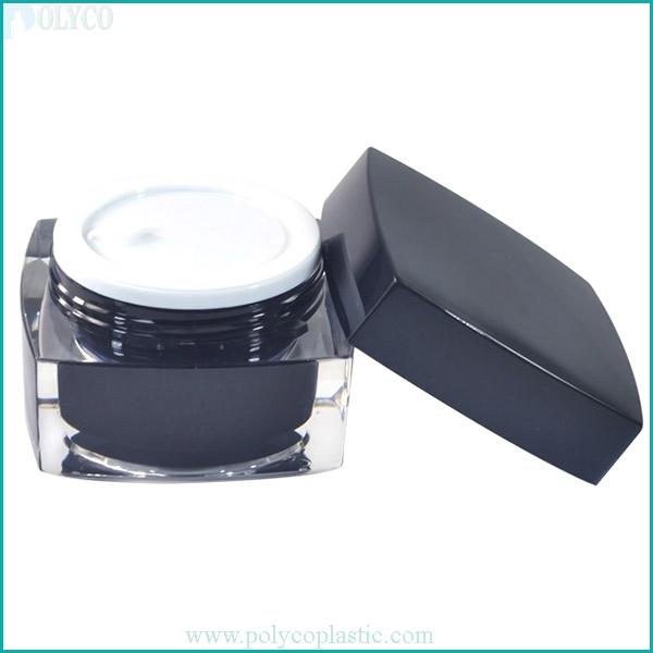 Square 2-layer plastic jar, high-quality cosmetic plastic jar