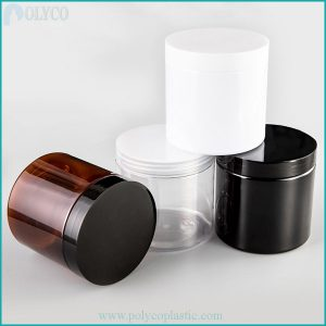 PET plastic jars come with plastic lids in a variety of sizes
