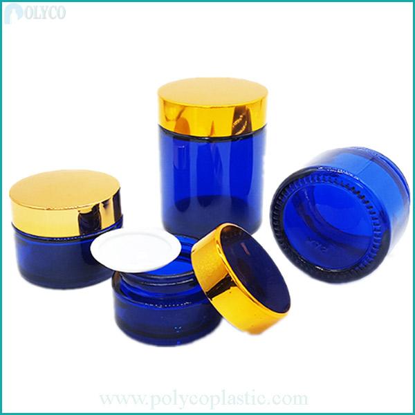 Blue cosmetic glass jar
