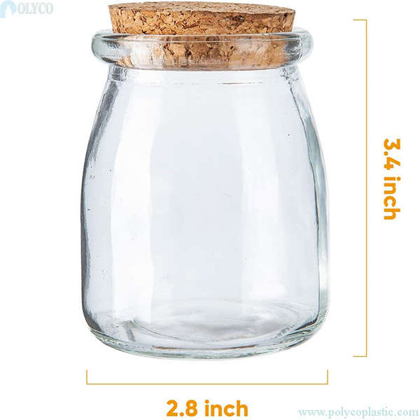 Glass jar containing yogurt 150ml beautifully