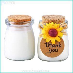 Glass jar with wooden lid for yogurt