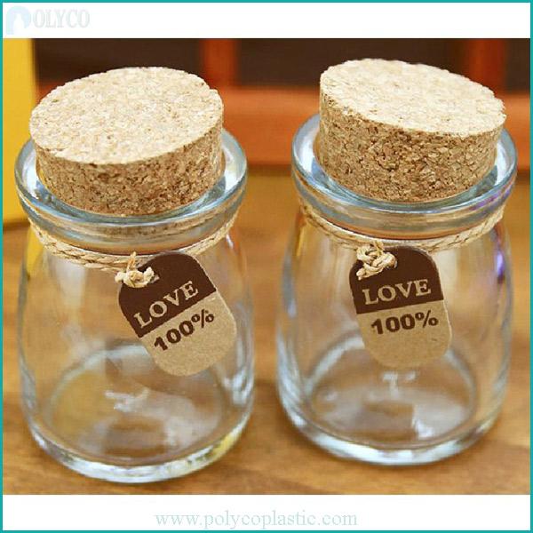 Glass jar with wooden lid for beautiful yogurt