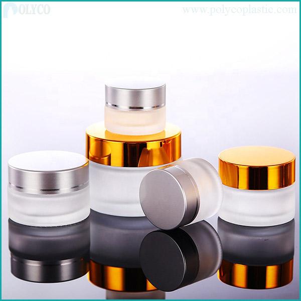 Cheap glass aluminum jar, beautiful cosmetic jar