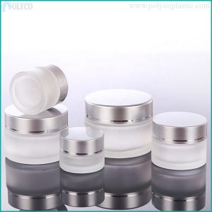 Silver-white aluminum glass jar