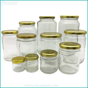 Tin-cap glass jars come in many different sizes