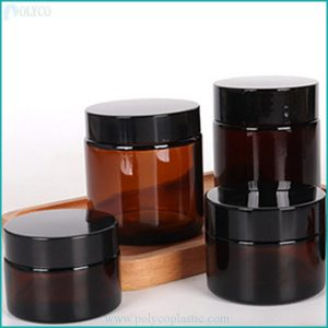 Brown glass jar with plastic lid