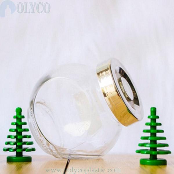 Transparent colored tilted glass vial