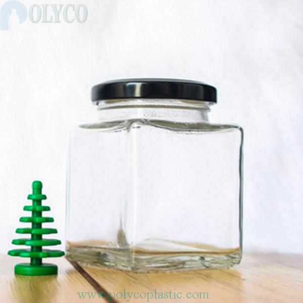 Square glass jar 150ml transparent color